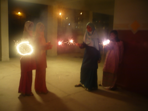 Hooray! Main bunga api together with raya songs in the background. best! =D stylo ah nani nye, dapat capture the movement of the fireworks..