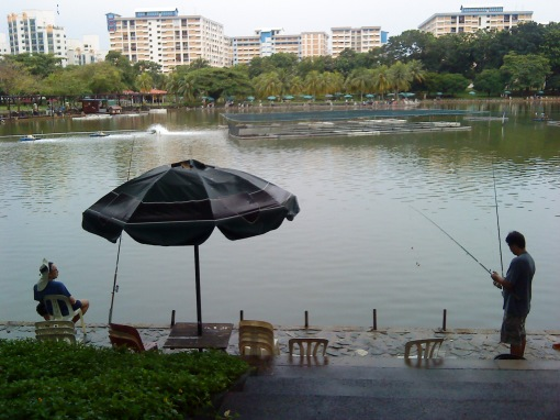 people fishing at Pasir Ris Town Park's pond
